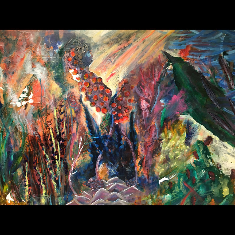 "The Vision, 2017. 36"" x 48"", acrylic on canvas."