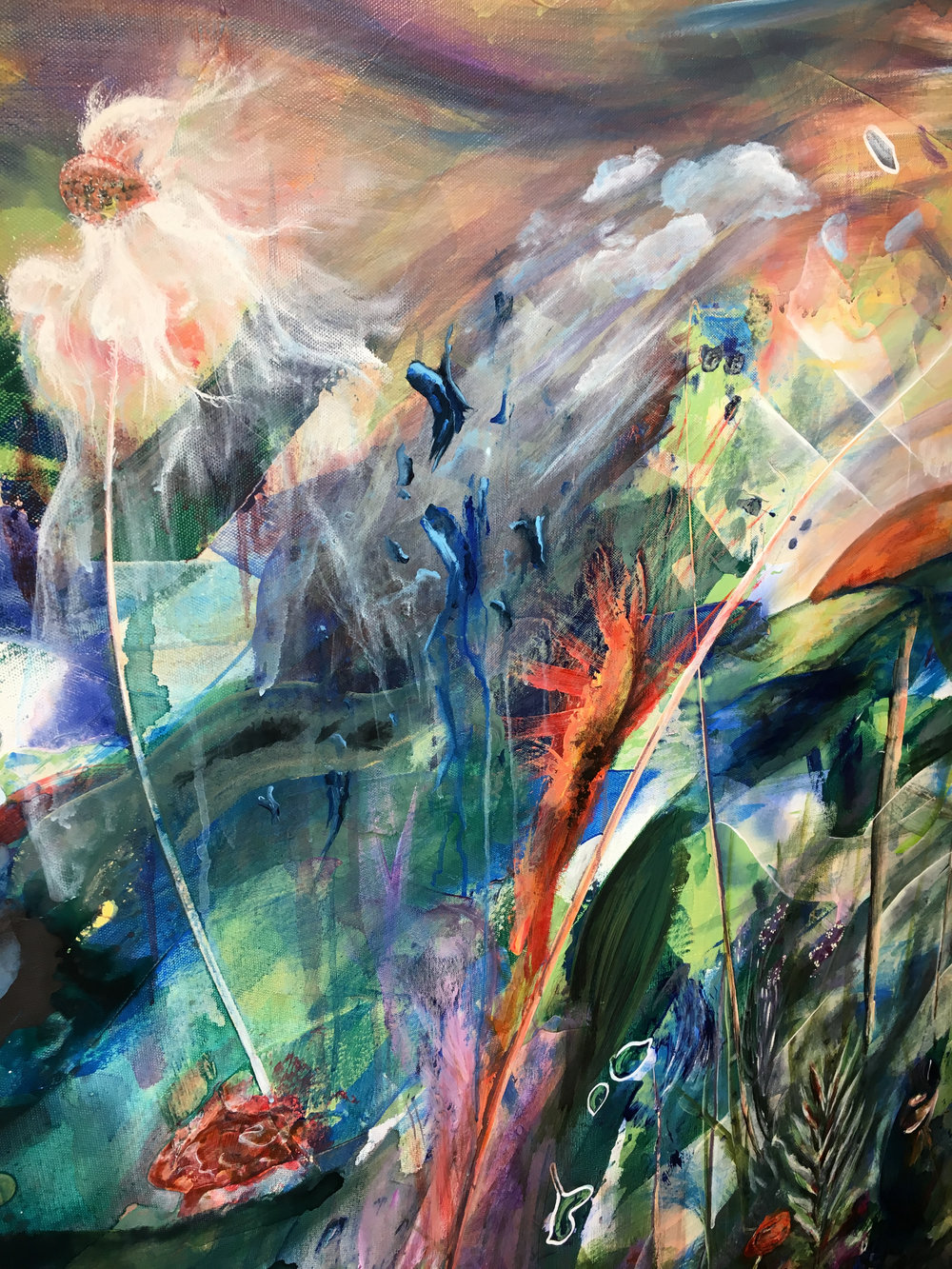 "Alabama Tides (detail). 2017. 48"" x 48"". Acrylic on canvas."
