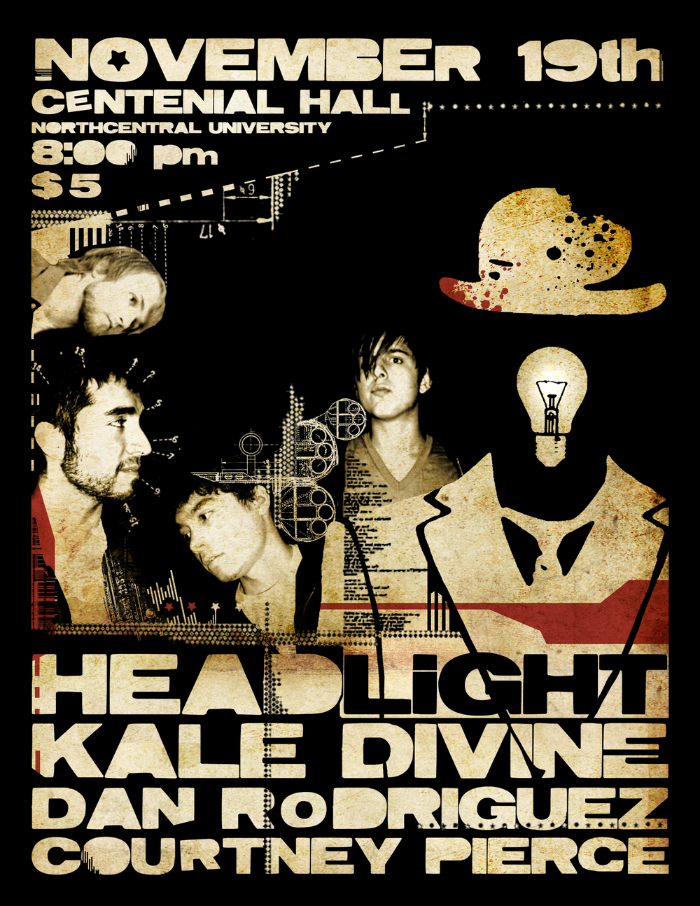 The flier for our first show. Built from random Facebook pictures and Nick's Headlight image. 11/19/2009