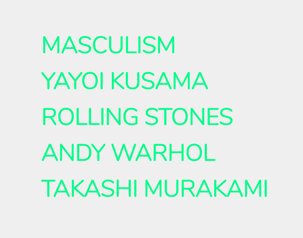 There were a number of considerations - From the 'Masculism' known as 'Machoism' to Takashi Murakami,I wanted to see Yoko portrayed in a way that she's not characterized as opposed to her known stories. I picked Masculism as she's a very active feminist, and other Japanese artists whose art is very Japanese unlike Yoko.