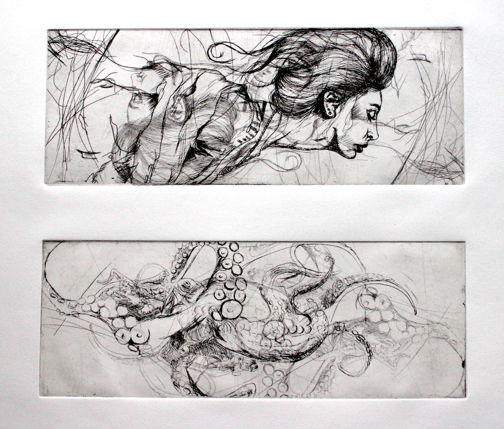 "In Motion diptych, 2012 etching 12""x12"""