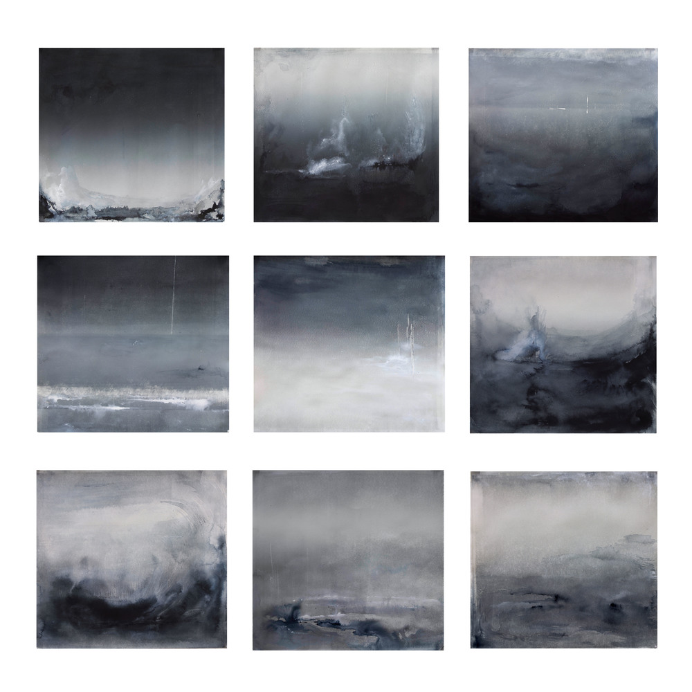 "Evanesce Portfolio on changing landscape Monotype and ink on paper, 2014 14.5""x15.5"" each"