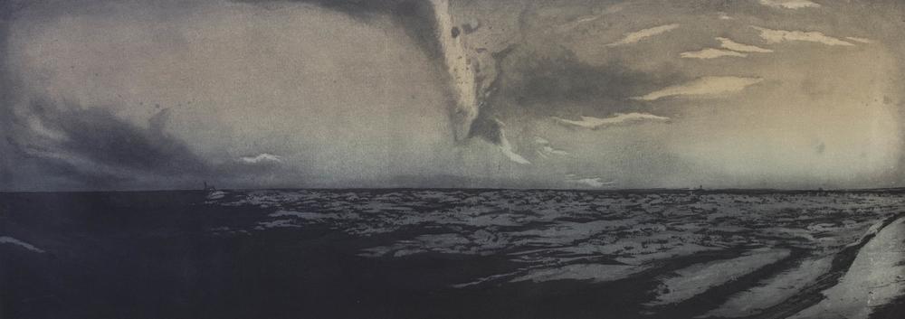 "Pilgrim Beach, North Truro, MA, 2013 etching |  9""x26"""