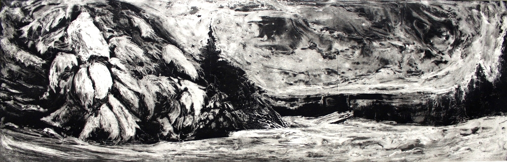 "West Dover, VT State 1, 2014 etching |  750  9""x28"""