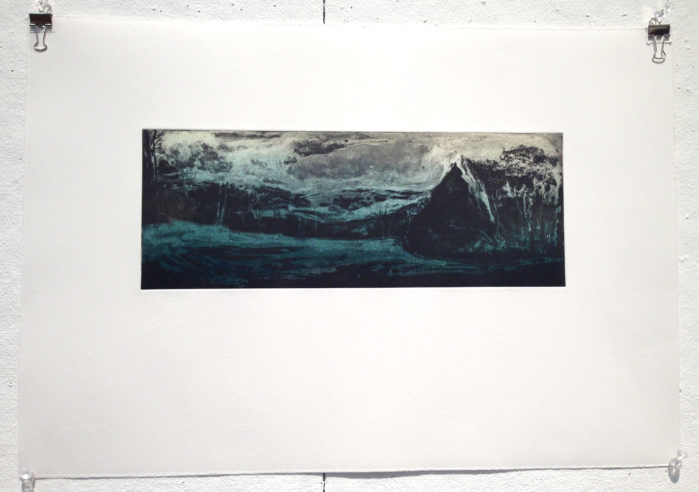 "Berkshire East Variation etching on paper |  sold  6""x15"""