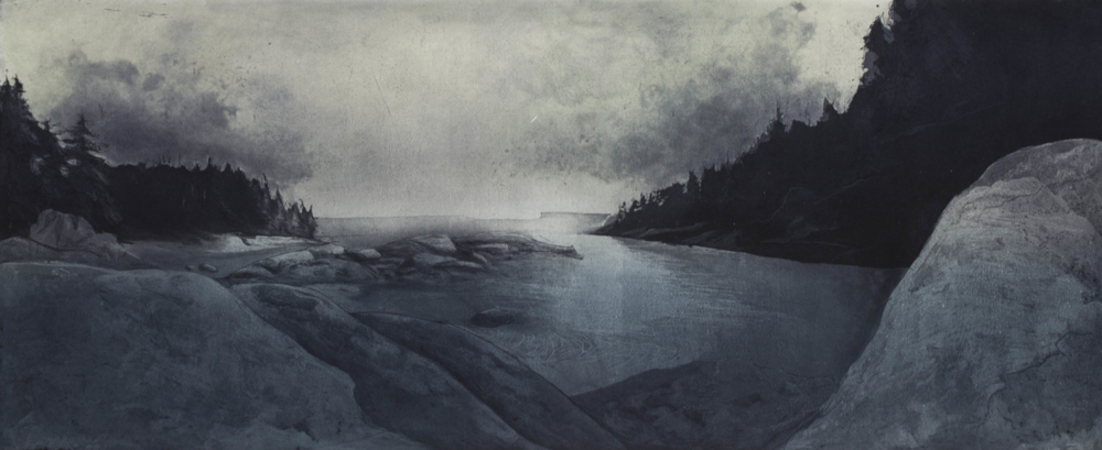 "Etching , SOLD, 2014 15""x34"""