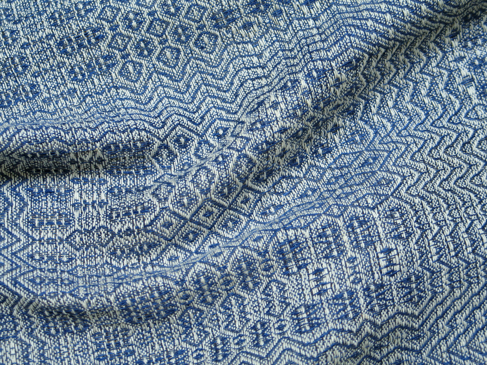 Handwoven linen gamp. Swedish Weavers Group Project, group leader Karen DeGeal. Used on Community Outreach page.