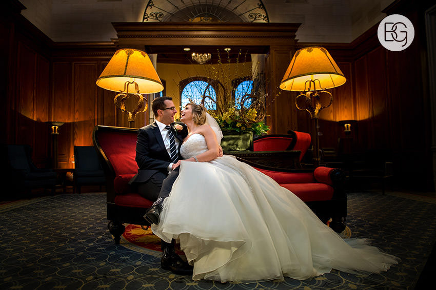 Fairmont Hotel Macdonald edmonton winter wedding photographer lobby