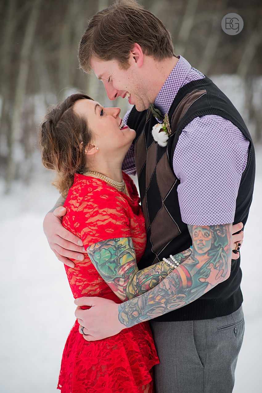 edmonton wedding photos in winter color