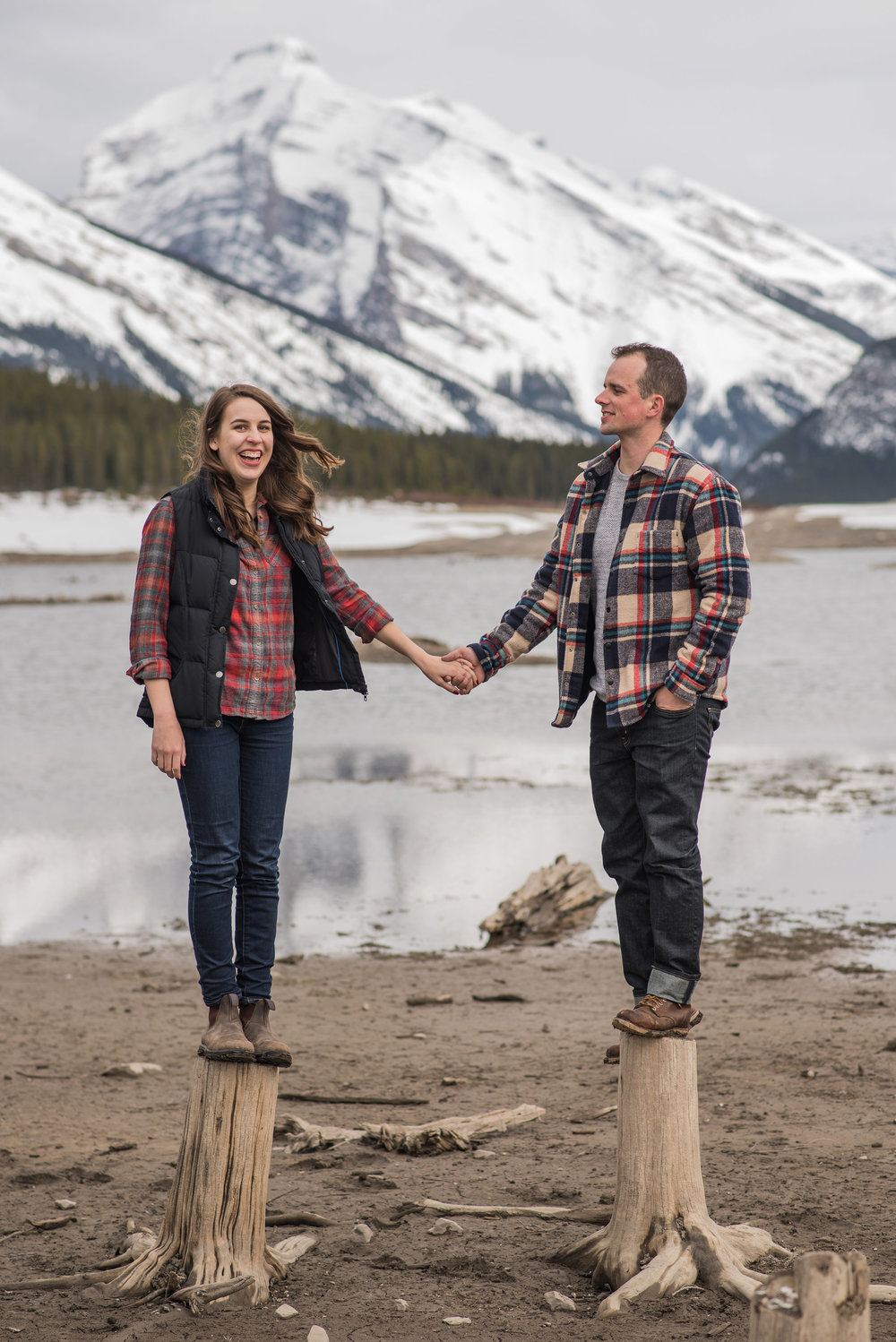 Canmore wedding photographer engagement kananaskis plaid cute