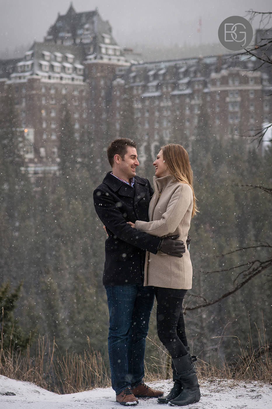 Banff engagement photo winter snow surprise corner