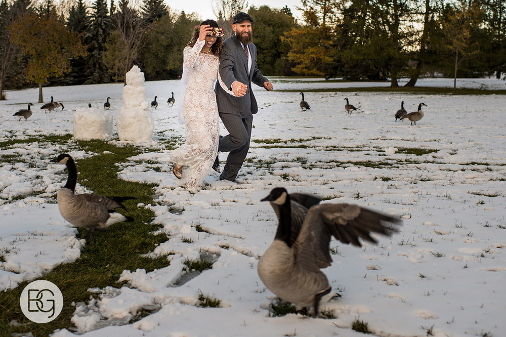 Edmonton winter wedding outdoors