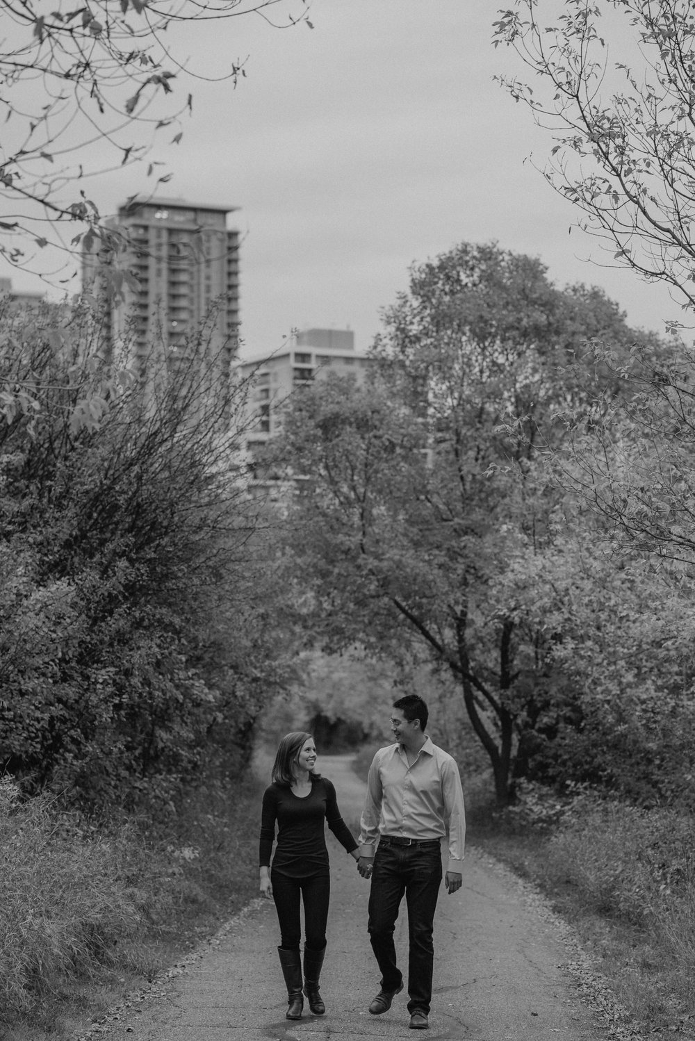 Edmonton river valley classic engagement photo black and white