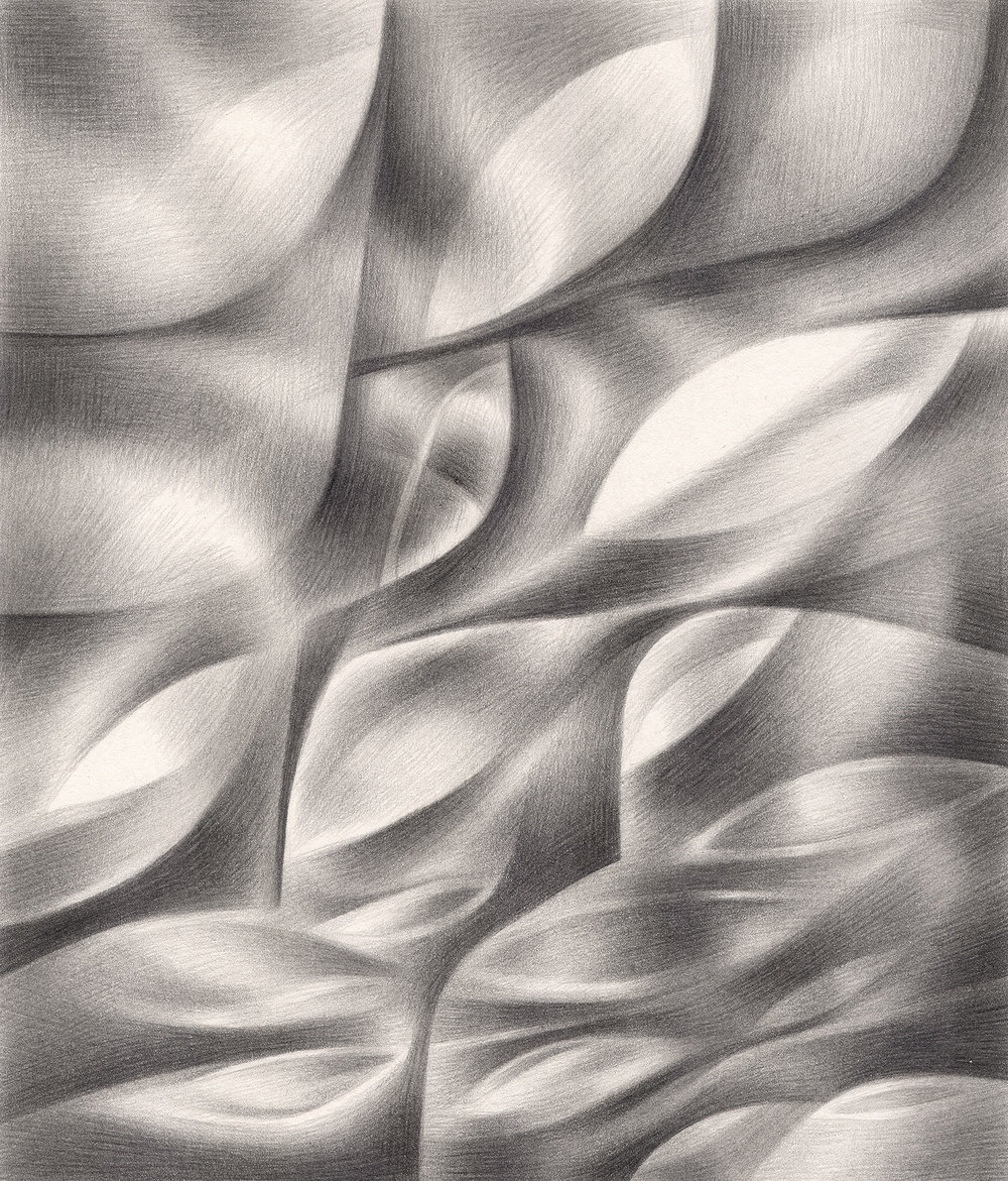"Soft Nibbles , 2004. Graphite on paper. 6"" x 7""."