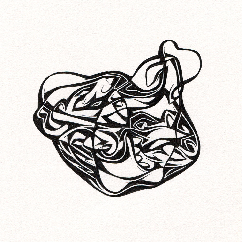 "Untitled Ink Drawing #89 , 2015. Ink on paper. Approximately 5"" x 5""."