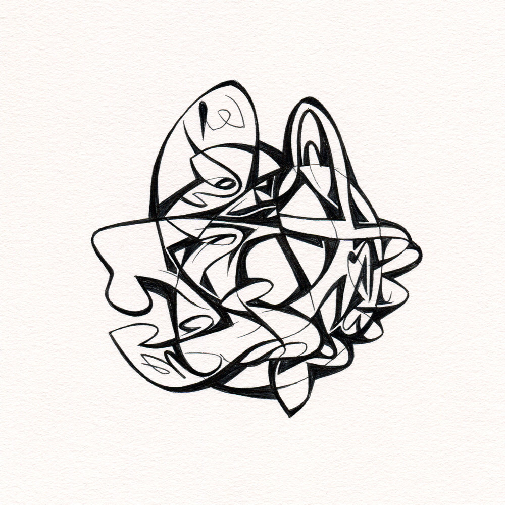 "Untitled Ink Drawing #59 , 2015. Ink on paper. Approximately 5"" x 5""."