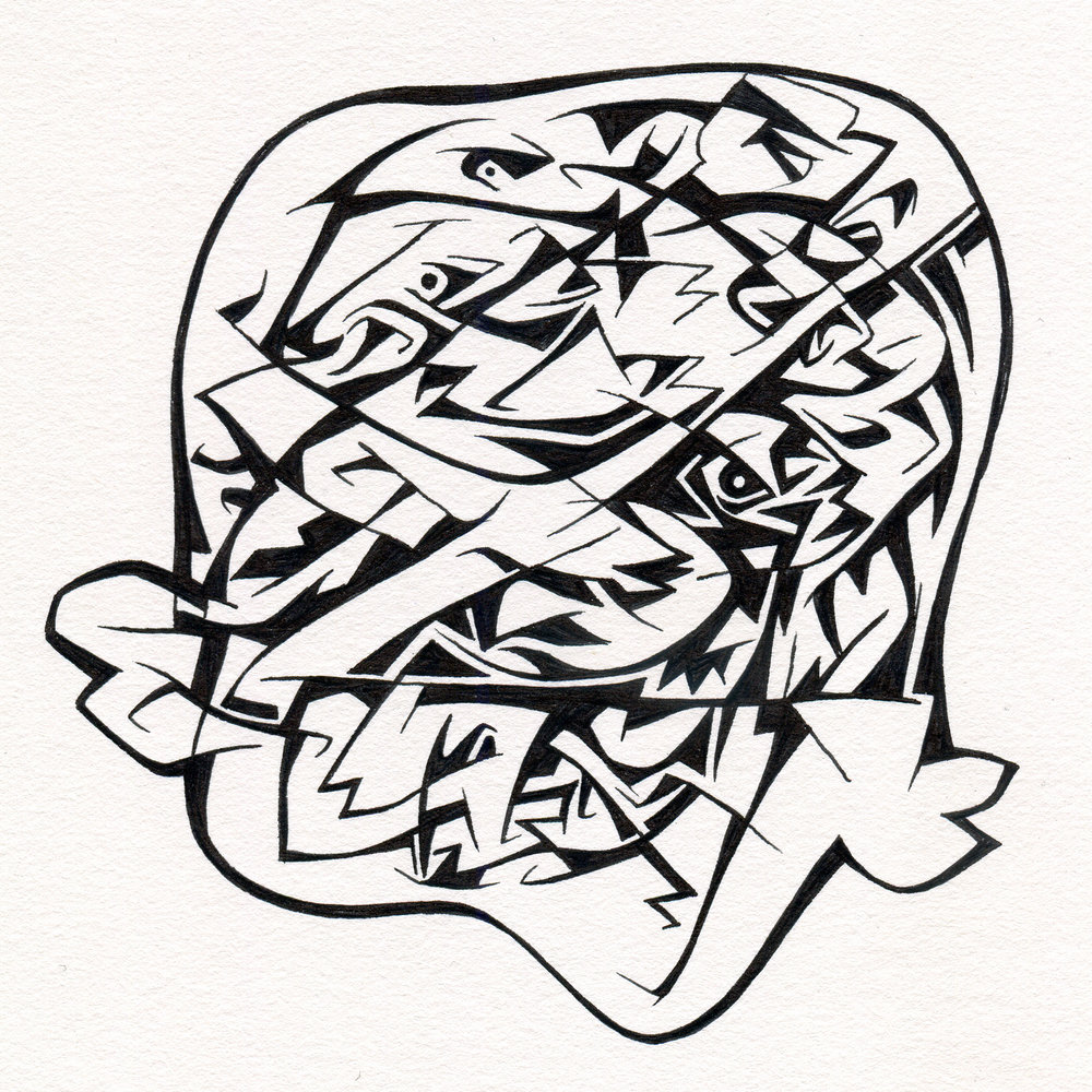 "Untitled Ink Drawing #105 , 2015. Ink on paper. Approximately 5"" x 5""."