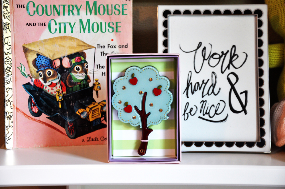 Kate Spade Black and White Frame  |  Nice Work Art Print  |  Giving Tree Handheld Mirror  |  Pretty Vintage Book