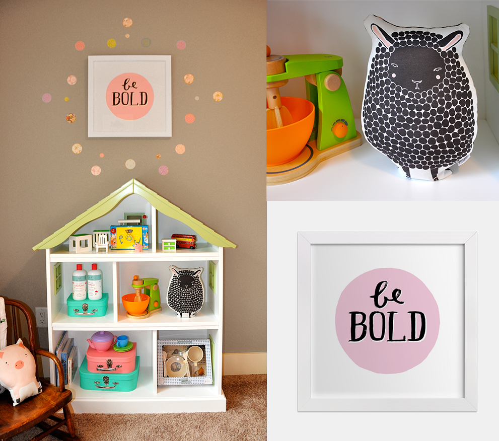 Dollhouse Bookcase  |  Gingiber Black Sheep Pillow  |  Be Bold Wall Art  |  Love Mae Pretty Polkadot Wall Decals  |  Aden and Anais Haircare