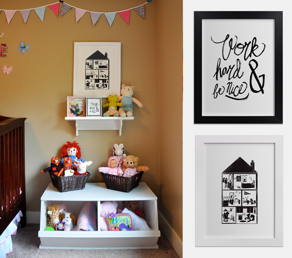 Nice Work Art Print  |  Squirrel House Art Print  |  StoragePalooza Cubby Shelf  |  Blabla Kids Splash the Cat  |  Blabla Kids Frog  |  Mr and Mrs Fox (Similar)  |  Corolle Doll  |  Raggedy Ann  |