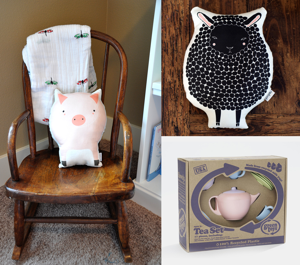Green Toys Tea Set  |  Aden and Anais Swaddles  |  Gingiber Animal Pillows  |  Rocking Chair (Similar)  |