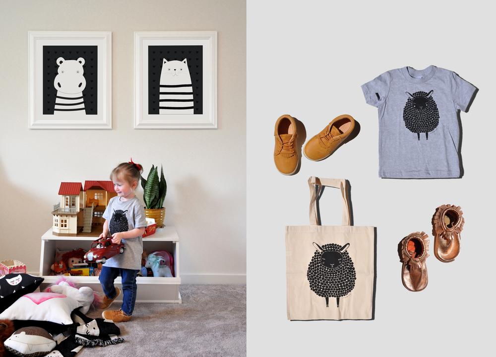 Storagepalooza|Freshly Picked Hard-Sole Shoes | Black Sheep Kids Shirt |Black Sheep Tote Bag | Rose Gold Moccasins |
