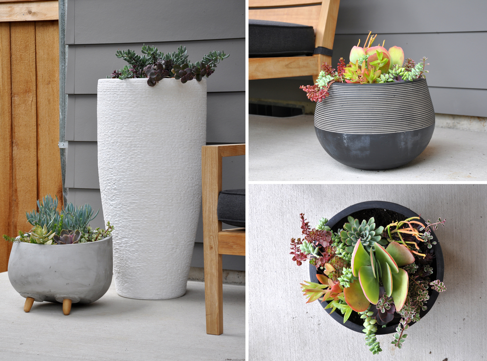 Half Ridged Planter | Tall Ridged Stone Planter |