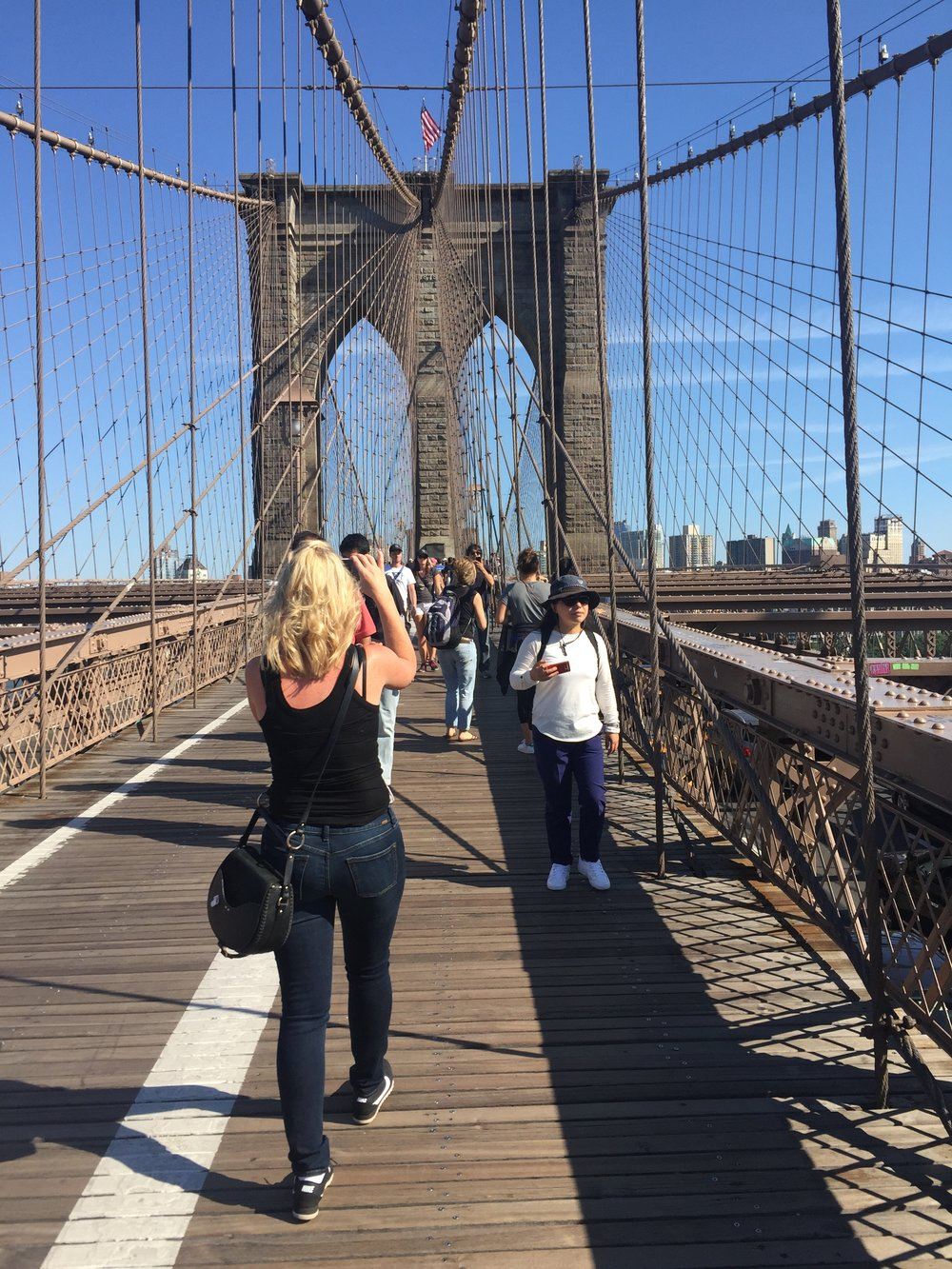 We took a couple mile walk over the Brooklyn Bridge then had a milkshake at a little deli on the other side.