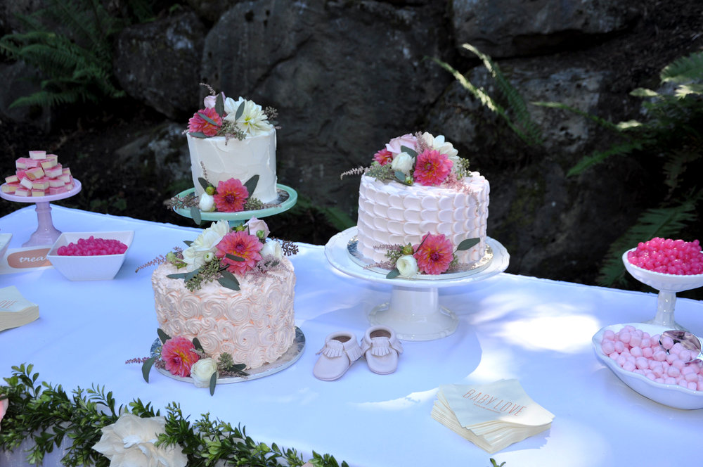 Papa Haydn's Cakes | Sammy's Flowers | Personalized Baby Napkins | Freshly Picked Moccs| Pink and White Candy | Milk Glass Cake Plates | White Candy Dishes |