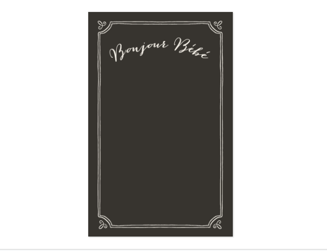 We will have a second backdrop at the event set up as a photo booth. This will be a fun way for guests to remember the day. I modified THIS blackboard style drop to fit our upscale French Theme.