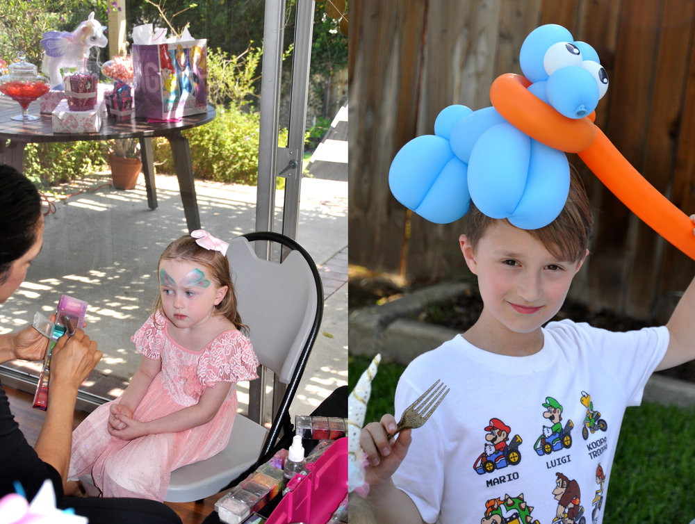 A face painter and balloon artist always provide extra entertainment and a little structure!