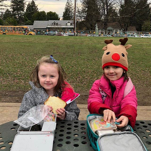 A very cold after school snack with her bestie.