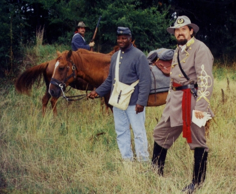 STEVE MCINTYRE STARS AS GENERAL NATHAN BEDFORD FORREST WITH MELVIN SHIPP APPEARING AS FORREST'S BODY SERVANT, JERRY.
