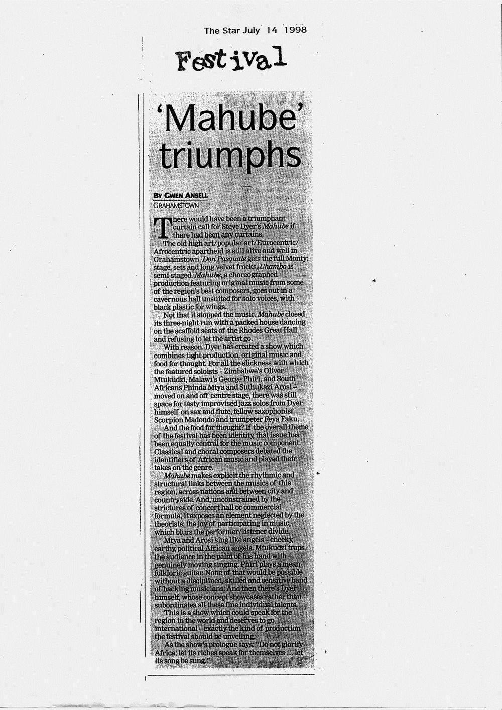 Mahube review - Gwen Ansell