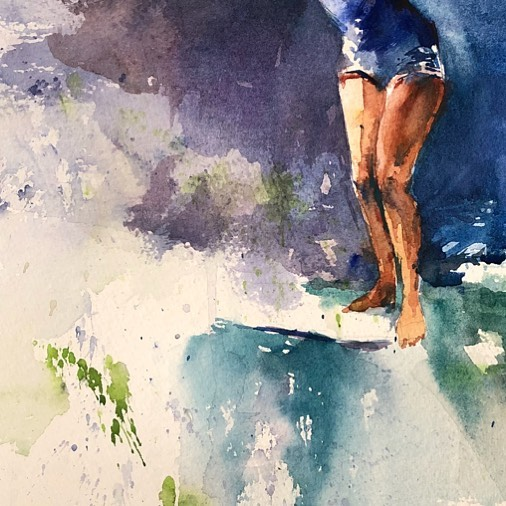 Back in the studio for a week. ✨toes on the nose✨ 🍦 #watercolor #watercolour #watercolorpainting #danielsmithwatercolors #danielsmithartistsmaterials #longboarding #surfing #surfgirlmag #surfart #oceanart #beachart