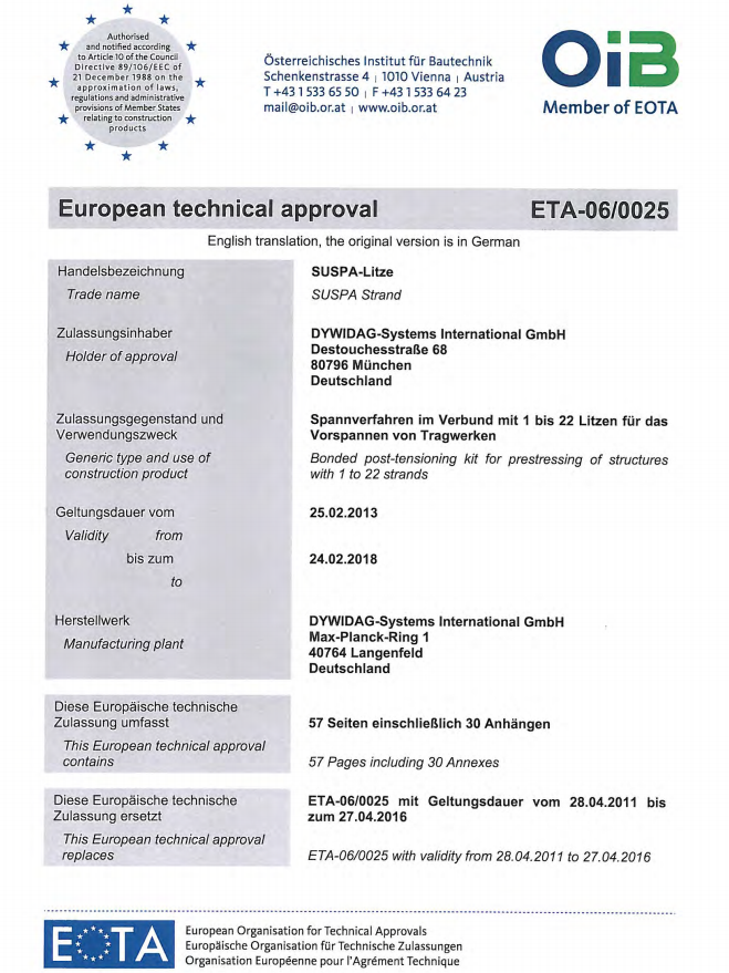ETA-06/0025 SUSPA Strand