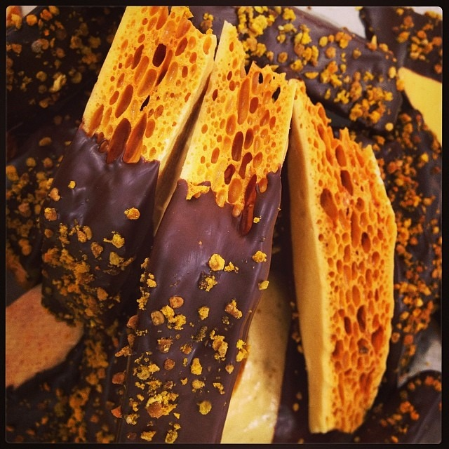 Dark chocolate dipped honeycomb from Super Chunk image via:  superchunk.me
