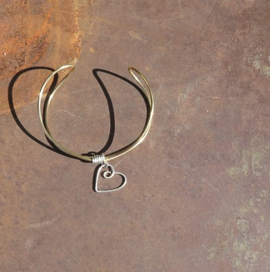 Brass Wire Heart Cuff