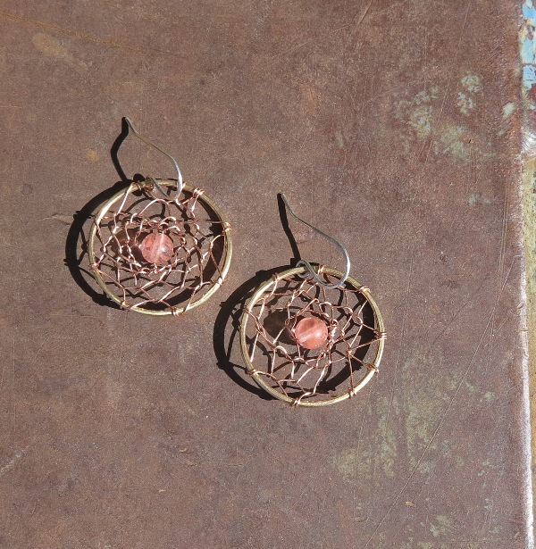Dreamcatcher Earrings- Pink