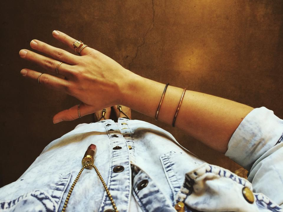 Stackable Rings and Copper Cuff by Kenneth Pierre
