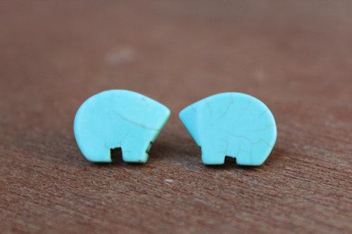 Turquoise Bear Earrings $18