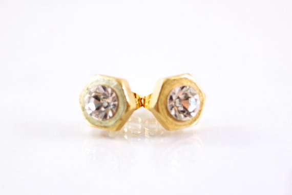 Hex Nut Earrings (Gold or Silver) $18