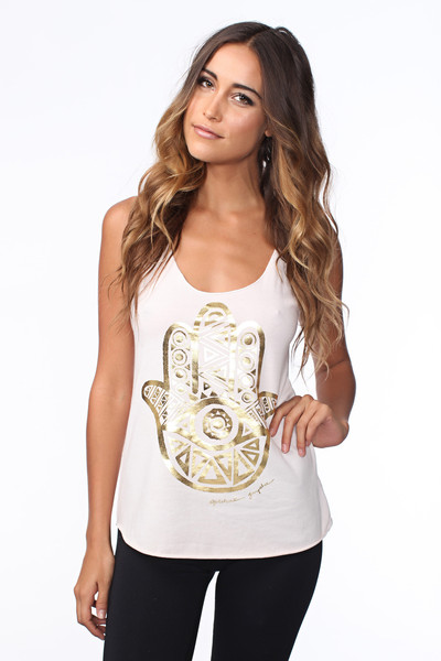 Gold Foil Hamsa Eye Tank in Blush