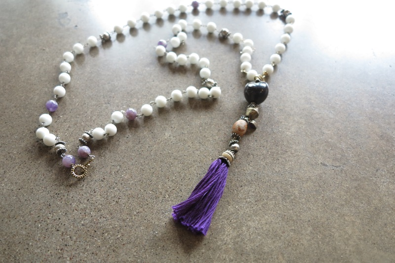 Amethyst and Howlite Mala $90