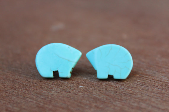 Locally Made Turquoise Bear Earrings