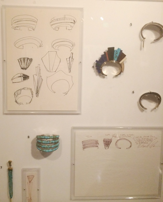 Next to each piece of handmade jewelry you will find Loloma's initial sketch work.