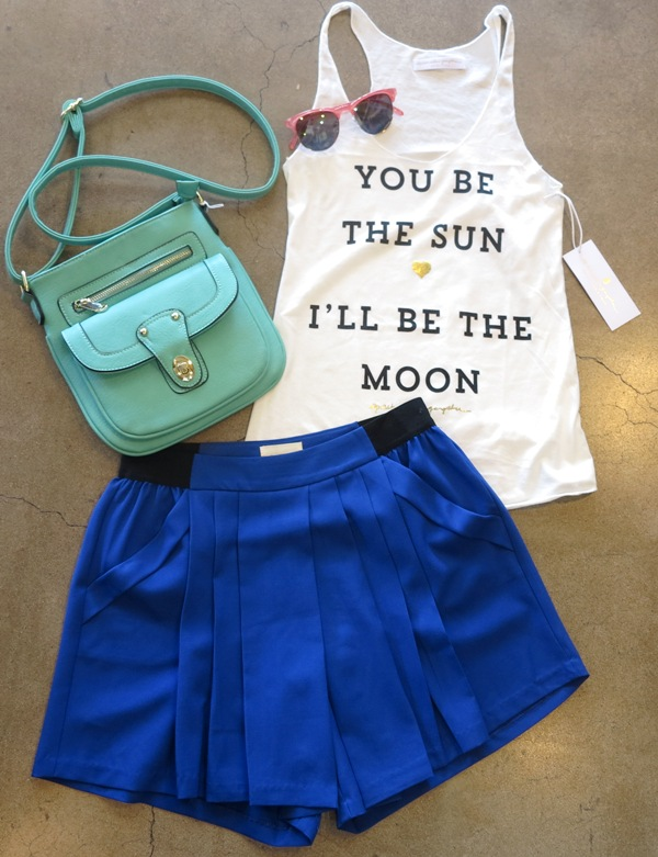 You be the Sun tank +  Kayla Solid Short  +  Twist Lock Crossbody