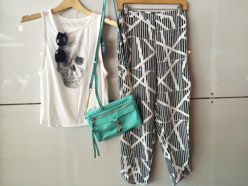 Skull Muscle Tee  +  Up All Night Pant  +  Parlor Bag in Mint