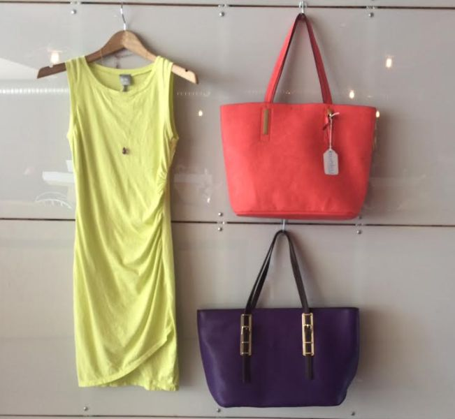 The Mojito Dress, Resort Handbag (Coral) and Vineyard SHopper (Eggplant)
