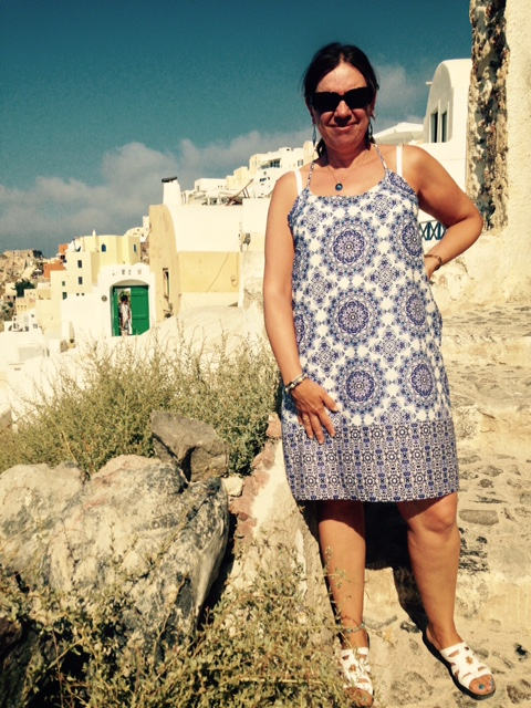Olga wearing the Retreat Dress in beautiful Greece.